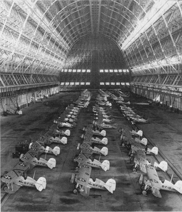 Planes inside Hangar One