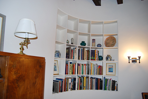detail of rounded bookcase