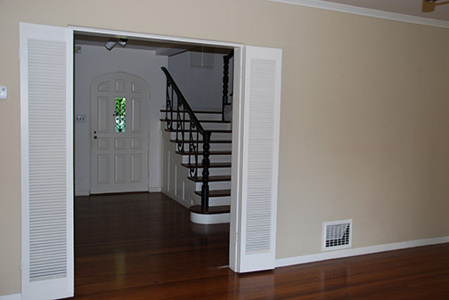 view from living room towards entry
