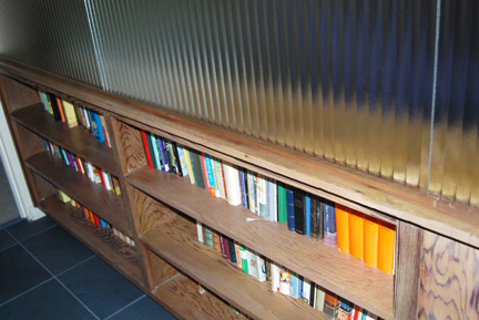 Book shelf and glass