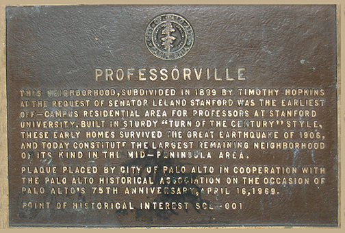 Professorville Plaque